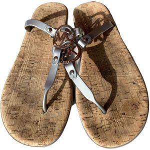 Michael Kors Emblem Charm Jelly Cork Thong Sandals